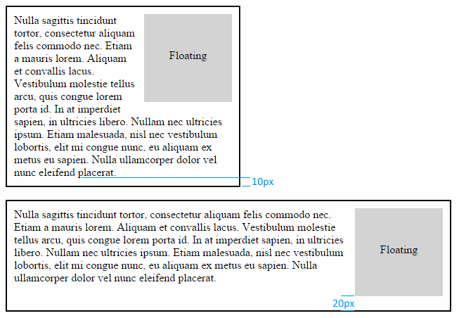 Example of floating element in module at different viewport widths